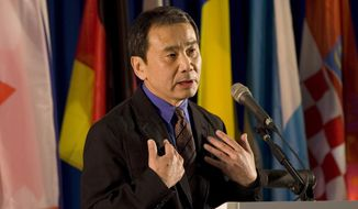 """FILE - In this Sunday, Feb. 15, 2009, file photo, novelist Haruki Murakami of Japan makes a speech after receiving the Jerusalem's award during the International Book Fair in Jerusalem. Murakami's new book """"Kishidancho Goroshi,"""" which means """"Murder of a Knight Commander,"""" will hit Japanese bookstores on Feb. 24, the book's publisher, Shinchosha Publishing Co. said Tuesday. Overseas availability isn't yet known. (AP Photo/Bernat Armangue, File)"""