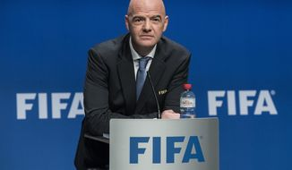 Gianni Infantino, FIFA President speaks after the FIFA Council meeting at the Home of FIFA in Zurich, Switzerland, Tuesday, Jan. 10, 2017. FIFA will expand the World Cup to 48 teams, adding 16 extra nations to the 2026 tournament which is likely to be held in North America. (Ennio Leanza/Keystone via AP)