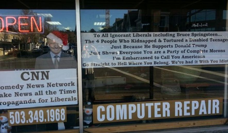 """Kevin Kerwin, owner of Kevin the Geek Computer Repair Shop in Lake Oswego, Oregon, has posted a sign in his storefront window telling liberals to """"go straight to hell"""" in response to the hate crime kidnapping and torture of a white disabled man last week in Chicago. (Fox News)"""