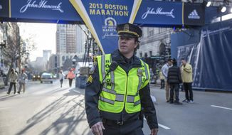 """In this image released by CBS Films, Mark Wahlberg appears on the set of the film, """"Patriots Day."""" (Karen Ballard/CBS Films and Lionsgate Films via AP)"""