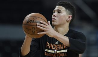 Phoenix Suns' Devin Booker shoot baskets during a training session the day before their game against the Dallas Mavericks, at Mexico City Arena in Mexico City, Wednesday, Jan. 11, 2017. (AP Photo/Rebecca Blackwell)