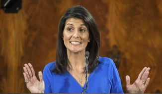 South Carolina Gov. Nikki Haley delivers the state of the state at the state Capitol, Wednesday, Jan. 11, 2017, in Columbia, S.C. (AP Photo/Sean Rayford)