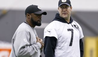 Pittsburgh Steelers quarterback Ben Roethlisberger (7) talks with head coach Mike Tomlin during an NFL football practice, Wednesday, Jan. 11, 2017, in Pittsburgh. The Steelers face the Kansas City Chiefs in an AFC Divisional playoff game on Sunday. (AP Photo/Keith Srakocic)