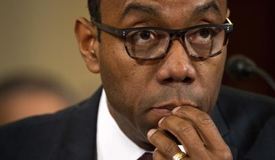 NAACP President Cornell Brooks testifies on Capitol Hill in Washington, Tuesday, Jan. 11, 2017, at the second day of a confirmation hearing for Attorney General-designate, Sen. Jeff Sessions, R-Ala., before the Senate Judiciary Committee. (AP Photo/Cliff Owen)