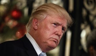 In this Wednesday, Dec. 28, 2016, file photo, President-elect Donald Trump listens to a question as he speaks to reporters at Mar-a-Lago, in Palm Beach, Fla. (AP Photo/Evan Vucci, File)