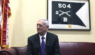 Defense Secretary-designate James Mattis waits for a meeting with Sen. Jack Reed, D-R.I., ranking member on the Senate Armed Services Committee. Tuesday, Jan. 3, 2017, on Capitol Hill in Washington. (AP Photo/Lauren Victoria Burke)