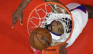 Los Angeles Clippers center DeAndre Jordan watches his shot during the first half of an NBA basketball game against the Orlando Magic, Wednesday, Jan. 11, 2017, in Los Angeles. (AP Photo/Mark J. Terrill)