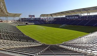 FILE - This May, 2003 file photo shows what was then known as Home Depot Center, renamed in June of that year to StubHub Center, In Carson, Calif. Currently home to the MLS Los Angeles Galaxy soccer team, StubHub Center will become the temporary home of the Los Angeles Chargers NFL football team when it moves to Los Angeles in the fall of 2017. (AP Photo/Mark J. Terrill, File)