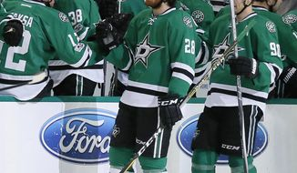Dallas Stars' Radek Faksa (12) of the Czech Republic and the rest of the bench congratulate Stephen Johns (28) on his goal against the Detroit Red Wings in the second period of an NHL hockey game, Thursday, Jan. 12, 2017, in Dallas. (AP Photo/Tony Gutierrez)