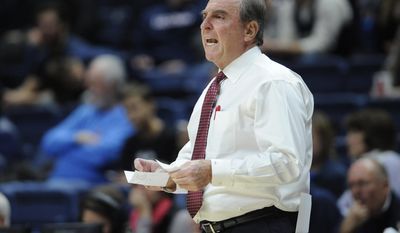 Temple's head coach Fran Dunphy calls out to his team in the first half of an NCAA college basketball game against Connecticut, Wednesday, Jan. 11, 2017, in Storrs, Conn. (AP Photo/Jessica Hill)