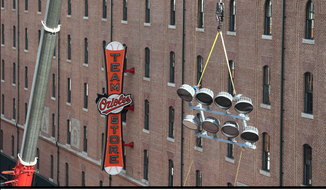 A Jan. 13, 2017, tweet from the Baltimore Orioles ball club showing the installation of new LED floodlights at Oriole Park at Camden Yards. (Twitter)