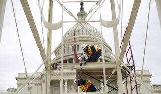 In this Dec. 8, 2016, file photo, construction continues on the Inaugural platform in preparation for the inauguration and swearing-in ceremonies for President-elect Donald Trump, on the Capitol steps in Washington, D.C. (AP Photo/Pablo Martinez Monsivais, File)