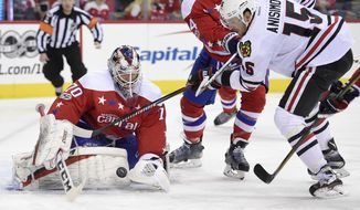 Washington Capitals goalie Braden Holtby (70) stops the puck against Chicago Blackhawks center Artem Anisimov (15), of Russia, during the second period of an NHL hockey game, Friday, Jan. 13, 2017, in Washington. (AP Photo/Nick Wass)