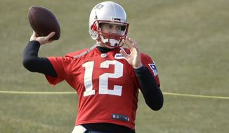 New England Patriots quarterback Tom Brady winds up for a pass during an NFL football practice, Thursday, Jan. 12, 2017, in Foxborough, Mass. (AP Photo/Steven Senne)