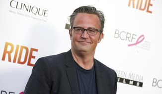 "In this April 28, 2015, file photo, Matthew Perry arrives at the LA Premiere of ""Ride"" in Los Angeles. (Photo by Rich Fury/Invision/AP, File)"