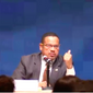 """Rep. Keith Ellison of Michigan, a candidate running to be chairman of the Democratic National Committee, is shown here speaking at the Jan. 14  DNC """"Future Forum"""" in Phoenix, Ariz.  (Screen capture from YouTube via DailyKos.com)"""