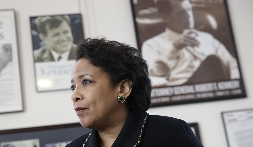 In this Jan. 12, 2017, file photo, then-Attorney General Loretta Lynch speaks during an interview with The Associated Press at the University of Baltimore School of Law in Baltimore. (AP Photo/Patrick Semansky)