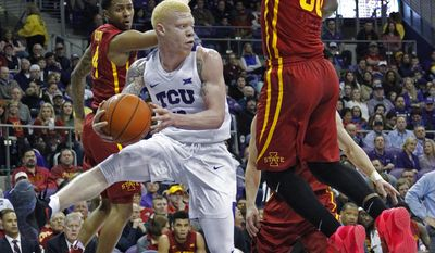 TCU guard Jaylen Fisher (0) looks for an open teammate during the first half of an NCAA college basketball game against Iowa State, Saturday, Jan. 14, 2017 in Fort Worth, Texas (Paul Moseley/Star-Telegram via AP)