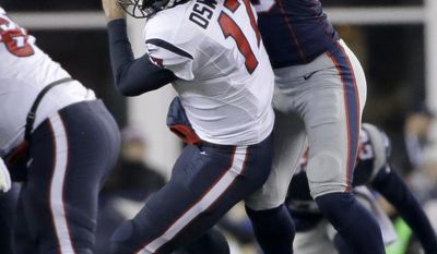 New England Patriots defensive lineman Jabaal Sheard (93) knocks down Houston Texans quarterback Brock Osweiler (17) after he Osweiler a pass during the second half of an NFL divisional playoff football game, Saturday, Jan. 14, 2017, in Foxborough, Mass. (AP Photo/Elise Amendola)