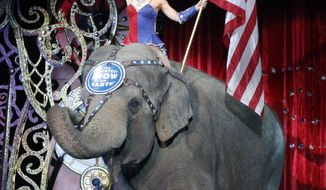 """FILE - In this May 1, 2016 file photo, an Asian elephant performs during the national anthem for the final time in the Ringling Bros. and Barnum & Bailey Circus in Providence, R.I. The Ringling Bros. and Barnum & Bailey Circus will end """"The Greatest Show on Earth"""" in May 2017, following a 146-year run. Declining attendance combined with high operating costs, along with changing public tastes and prolonged battles with animal rights groups all contributed to its demise. (AP Photo/Bill Sikes, File)"""