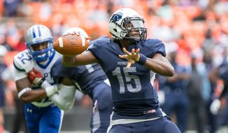 September 17, 2016: Howard Bison quarterback Kalen Johnson (15) drops back to pass in the AT&T Nation's Football Classic featuring the Howard University Bison and the Hampton University Pirates in Washington, D.C. Photo credit Cory Royster/Cal Sport Media (Cal Sport Media via AP Images)