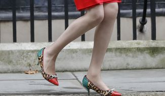 Britain's Prime Minister Theresa May wearing colourful shoes as she walks out of 10 Downing Street to greet the Prime Minister of New Zealand Bill English at 10 Downing Street in London, Friday, Jan. 13, 2017. (AP Photo/Frank Augstein)
