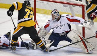 Washington Capitals goalie Braden Holtby (70) stops a shot by Pittsburgh Penguins' Patric Hornqvist (72) in the first period of an NHL hockey game in Pittsburgh, Monday, Jan. 16, 2017. (AP Photo/Gene J. Puskar)