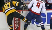 Pittsburgh Penguins' Sidney Crosby (87) collides with Washington Capitals' Alex Ovechkin (8) in the first period of an NHL hockey game in Pittsburgh, Monday, Jan. 16, 2017. (AP Photo/Gene J. Puskar)