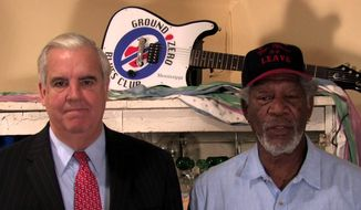 Clarksdale, Mississippi, Mayor Bill Luckett (left) owns the Ground Zero Blues Club with actor Morgan Freeman, a fellow native of the Magnolia State.  (YouTube)