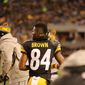 Pittsburgh Steelers wide receiver Antonio Brown during an NFL football game on Sunday, Dec. 4, 2016, in Pittsburgh. (Ed Rieker via AP)