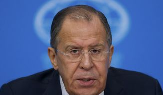 """Russian Foreign Minister Sergey Lavrov speaks during his news conference in Moscow, Russia, on Tuesday, Jan. 17, 2017. Moscow hopes for better ties with the United State based on respect for mutual interests once Donald Trump takes office, in contrast with a """"messianic"""" approach of the outgoing administration that has ravaged ties, Russian foreign minister said Tuesday. (AP Photo/Ivan Sekretarev)"""