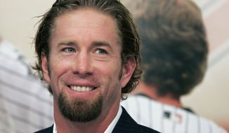 FILE - In this Dec. 15, 2006, file photo, Houston Astros long time first baseman and four-time All-Star Jeff Bagwell announces his retirement from baseball in Houston. Bagwell and Tim Raines are likely to be voted into baseball's Hall of Fame on Wednesday, Jan. 18, 2017, when Trevor Hoffman and Ivan Rodriguez also could gain the honor.(AP Photo/Pat Sullivan, File)