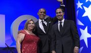 President Barack Obama, center, poses for a photo with Rep. Linda Sanchez, D-Calif., left, and Housing and Urban Development Secretary Julian Castro, right, as he arrives to speaks at the Congressional Hispanic Caucus Institute's (CHCI) 38th Anniversary Awards Gala in Washington, Thursday, Oct. 8, 2015. The Awards Gala is the signature event in its Hispanic Heritage Month list of events that include the Public Policy Conference. (AP Photo/Susan Walsh)