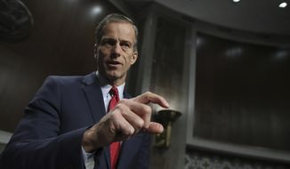 Senate Commerce Committee Chairman Sen. John Thune, R-S.D., speaks to reporters on Capitol Hill in Washington, Wednesday, jan. 18, 2017, at the conclusion of a confirmation hearing of Commerce Secretary-designate Wilbur Ross. (AP Photo/Manuel Balce Ceneta) ** FILE **