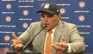 Former Texas Rangers catcher Ivan Rodriguez talks to reporters Wednesday, Jan. 18, 2017, in Arlington, Texas. Rodriguez was elected to baseball's Hall of Fame on Wednesday. Rodriguez is just the second catcher elected on the first ballot; Johnny Bench is the other. (AP Photo/Schuyler Dixon)