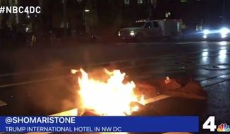 "A California man was hospitalized Tuesday night after he tried to light himself on fire in front of the Trump International Hotel in Washington, D.C., as an ""act of protest"" against the president-elect. (NBC 4/@shomaristone)"
