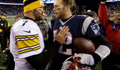Pittsburgh Steelers quarterback Ben Roethlisberger does not believe he is in the level of New England Patriots quarterback Tom Brady as Roethlisberger only has two Super Bowl rings to four by Brady. Plus, Roethlisberger didn't have to beat Brady to get them. (Associated Press)