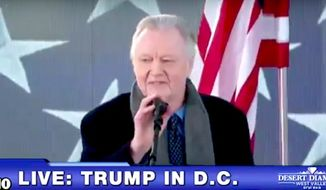 Hollywood actor John Voight kicks off the The Make America Great Again Welcome Celebration on Thursday, Jan. 19, 2017. (Fox 10 screenshot)