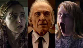 "Zoe Kazan in ""The Monster,"" Angus Scrimm in ""Phantasm: Remastered"" and Lulu Wilson in ""Ouija: Origin of Evil,"" all available on Blu-ray."