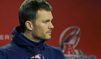 New England Patriots quarterback Tom Brady listens during a news conference before an NFL football team practice, Wednesday, Jan.18, 2017, in Foxborough, Mass. The Patriots will host the Pittsburgh Steelers in the AFC championship game on Sunday. (AP Photo/Elise Amendola)