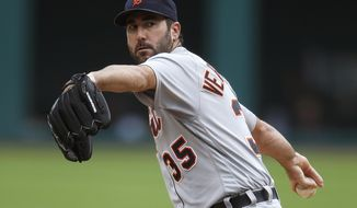FILE - In this Sept. 17, 2016, file photo, Detroit Tigers starting pitcher Justin Verlander delivers against the Cleveland Indians during the first inning of a baseball game, in Cleveland. A couple months ago, it looked like the Tigers could be major sellers after missing the postseason the past two years. General manager Al Avila said Detroit would have an open mind about anyone on the roster and with expensive players like Verlander, Miguel Cabrera, Ian Kinsler and J.D. Martinez still capable of helping any team, the Tigers were an obvious candidate to trade stars for prospects and reduce their payroll.  (AP Photo/Ron Schwane, File)