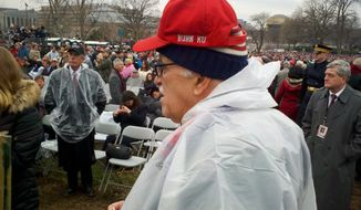 Thomas C. Mendenhall, a developer from Columbia, Mo., and one of Donald Trump's earliest supporters, is already canvassing among the faithful at Mr. Trump's inauguration for his 2020 re-election race. (David R. Sands/The Washington Times)