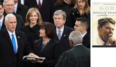 Vice President Mike Pence taking the oath of office, administered by Supreme Court Justice Clarence Thomas, using a Bible owned by Ronald Reagan and used in his inaugurations.