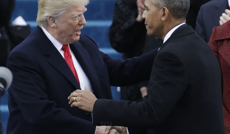 President-elect Donald Trump, left, shakes hands with President Barack Obama before the 58th Presidential Inauguration at the U.S. Capitol in Washington, Friday, Jan. 20, 2017. (AP Photo/Patrick Semansky) ** FILE **