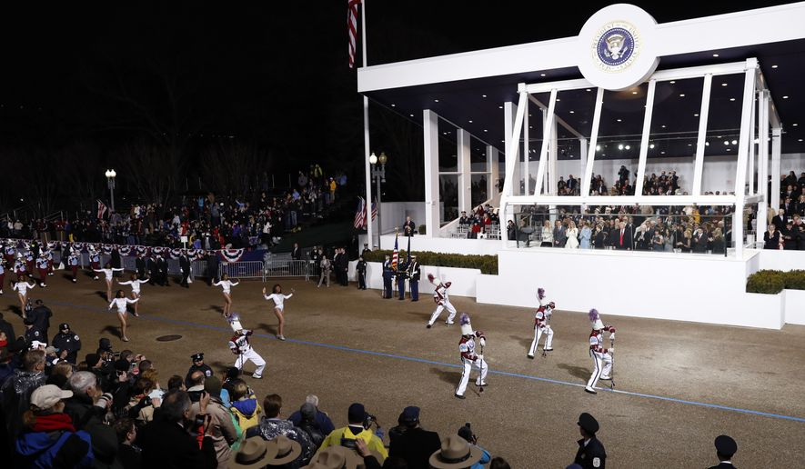 Talladega College Band from Talladega, Ala., march during the 58th Presidential Inauguration parade for President Donald Trump in Washington. Friday, Jan. 20, 2017. (AP Photo/Pablo Martinez Monsivais)