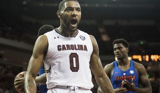 South Carolina guard Sindarius Thornwell (0) celebrates a basket during the second half of an NCAA college basketball game against Florida Wednesday, Jan. 18, 2017, in Columbia, S.C. South Carolina defeated Florida 57-53. (AP Photo/Sean Rayford)