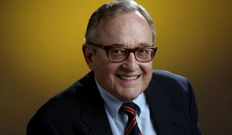 In this Feb. 19, 2003, Miami Herald sports writer Edwin Pope is seen. Pope, an award-winning sports columnist who covered the first 47 Super Bowls and spent more than 50 years with the Miami Herald, has died at age 88. Pope, who had battled cancer, died Thursday, Jan. 19, 2017, in Okeechobee, Fla., where he lived in retirement. (Al Diaz/ Miami Herald via AP)