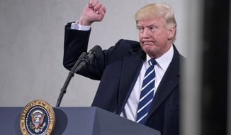 President Donald Trump holds up a fist after speaking at the Central Intelligence Agency in Langley, Va., Saturday, Jan. 21, 2017. (AP Photo/Andrew Harnik)