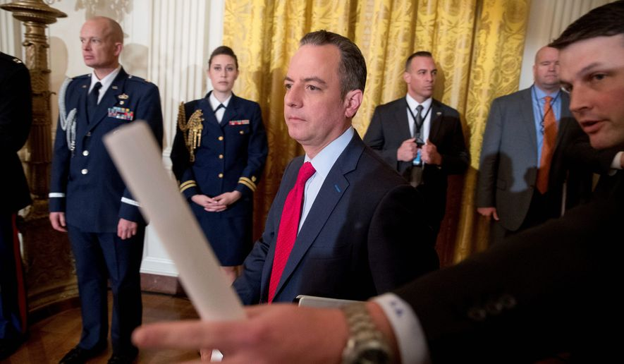 "Chief of Staff Reince Priebus (center) took issue with the media's negative coverage of President Trump's visit to CIA headquarters Saturday in Virginia, instead describing it as a ""lovefest,"" with several hundred agents proudly cheering on the new president. (Associated Press)"