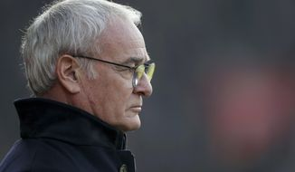Leicester City manager Claudio Ranieri looks on during the English Premier League soccer match between Southampton and Leicester City at St Mary's, Southampton, England, Sunday, Jan. 22, 2017.(David Davies/PA via AP)